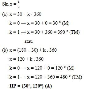 soal persamaan trigonometri dan jawaban no 1