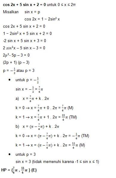 soal persamaan trigonometri dan jawaban no 7
