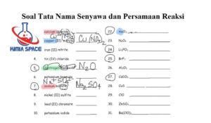 Soal Tata Nama Senyawa dan Persamaan Reaksi