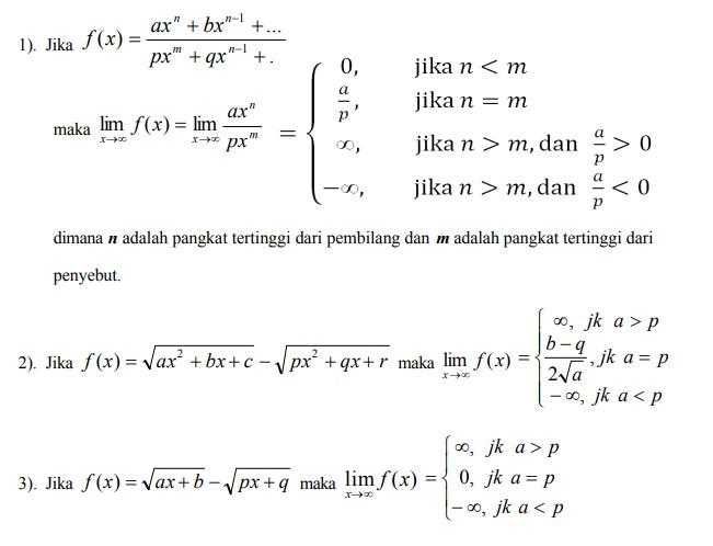 menentukan nilai limit tak hingga suatu fungsi