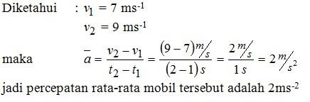 contoh soal percepatan rata-rata