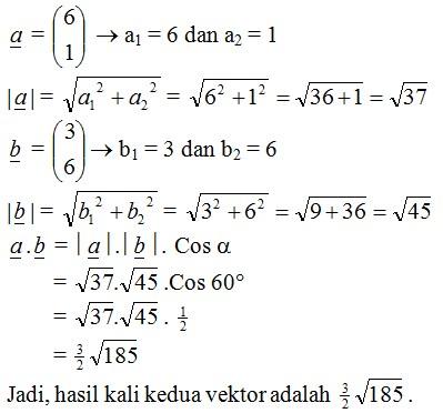jawaban hasil kali dua vektor